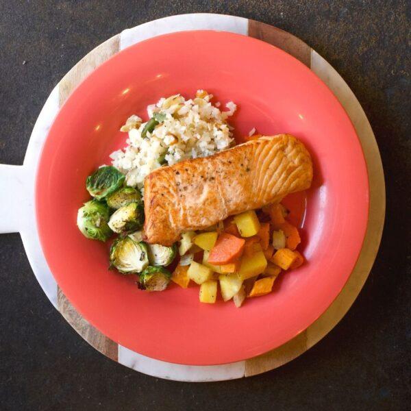 salmon and cauliflower rice